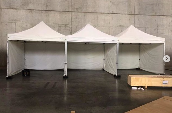 3x3m Pop Up Marquee With White Roof And 3 Sides