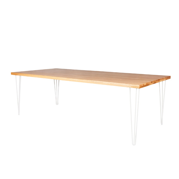 White Hairpin Banquet Table With Natural Timber Top