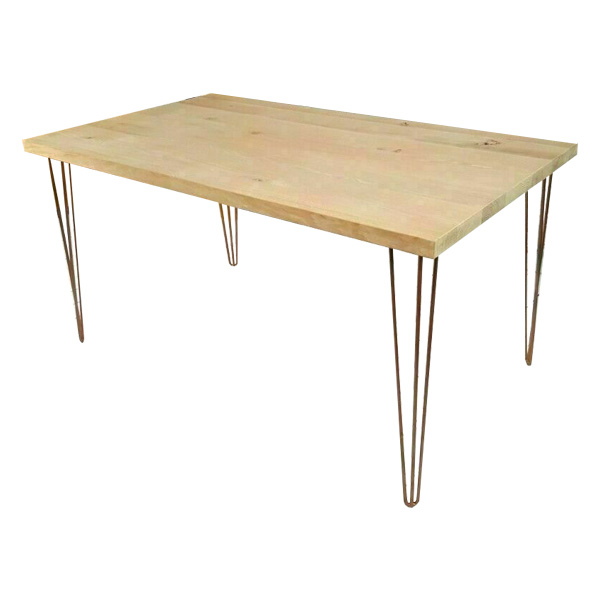 Gold Hairpin Banquet table with natural timber top