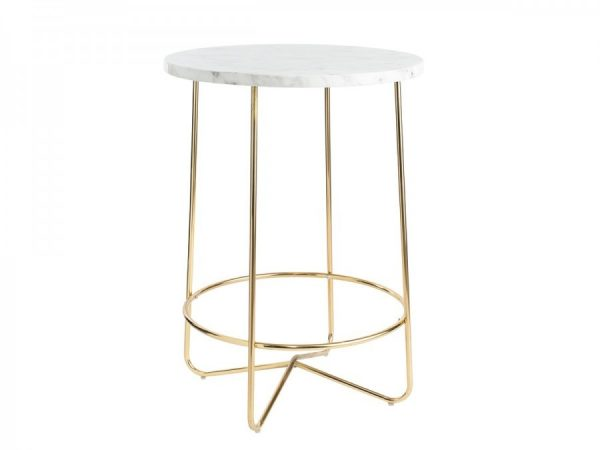 Gold Wire Arrow Table with Marble Top