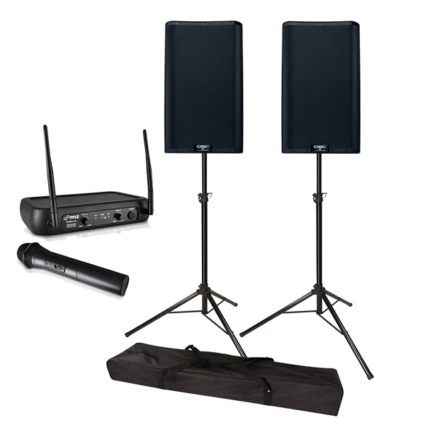 PA System with Wireless Mic and Speaker Stands