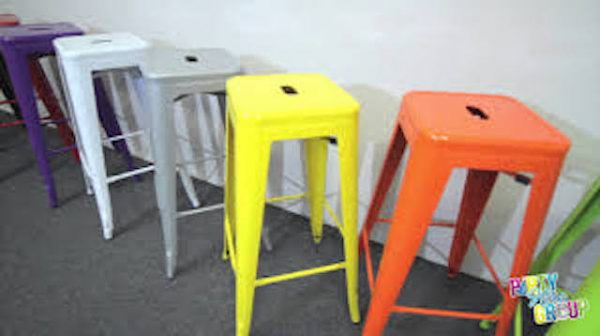 Yellow Tolix stool hire