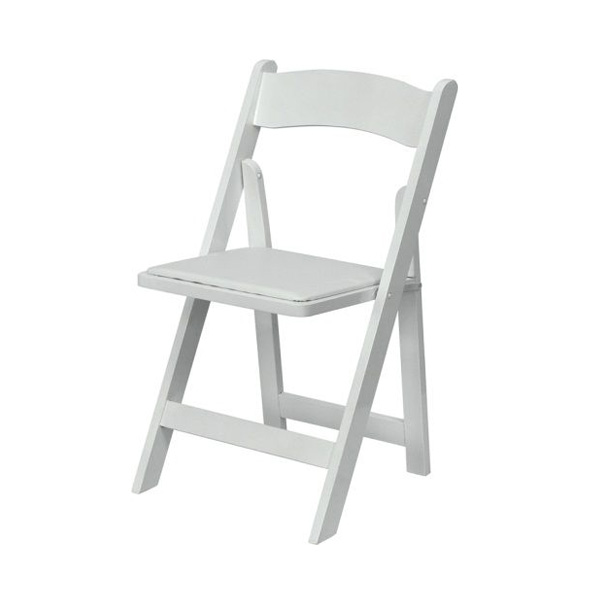 white padding wedding chair hire