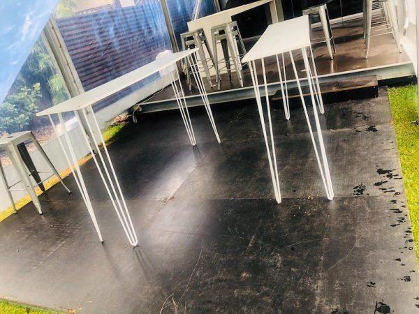 White Hairpin Tapas Table with White Top