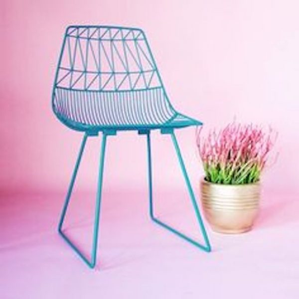 Turquoise Blue Wire Chair And Arrow Chair hire